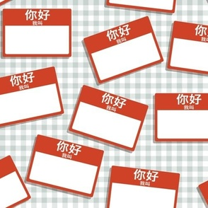 Scattered Chinese 'hello my name is' nametags - red on grey gingham