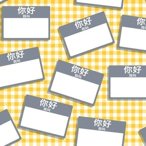 Scattered Chinese 'hello my name is' nametags - grey on yellow gingham