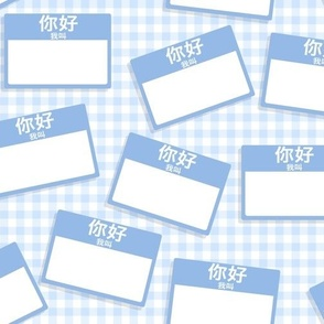 Scattered Chinese 'hello my name is' nametags - baby blue on gingham