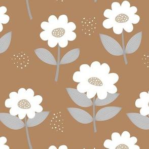 Retro Scandinavian daisies blossom summer leaves romantic organic garden cinnamon gray white