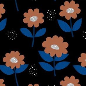 Retro Scandinavian daisies blossom summer leaves romantic organic garden cinnamon burnt orange eclectic blue black