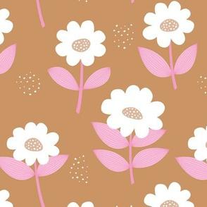 Retro Scandinavian daisies blossom summer leaves romantic organic garden burnt orange cinnamon pink white