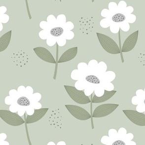 Retro Scandinavian daisies blossom summer leaves romantic organic garden mist olive green white