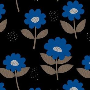Retro Scandinavian daisies blossom summer leaves romantic organic garden black eclectic blue coffee night