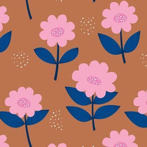 Retro Scandinavian daisies blossom summer leaves romantic organic garden rust copper pink eclectic blue