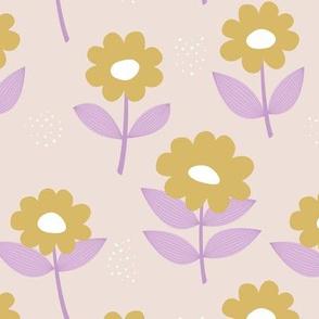 Retro Scandinavian daisies blossom summer leaves romantic organic garden sand lilac lime yellow