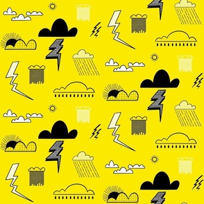 Weather Pattern Yellow Black and White