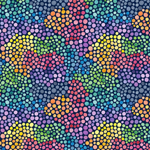 Watercolour rainbow dots on navy - small scale