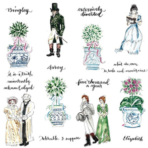Pride and Prejudice and Topiary pattern