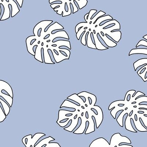 Monstera leaves summer garden boho design plant texture tropical hawaii nursery lavender blue white