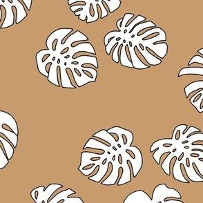Monstera leaves summer garden boho design plant texture tropical hawaii nursery cinnamon burnt orange white