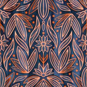 Rococo Navy & Orange Art Deco - Small Scale