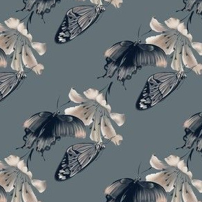 Dark butterflies and flower