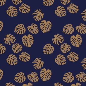 Little minimalist monstera leaves garden tropical leaves for summer for earth day and nature lovers forest navy blue golden cinnamon