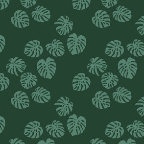 Little minimalist monstera leaves garden tropical leaves for summer for earth day and nature lovers forest green teal