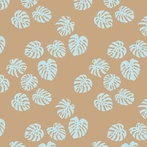 Little minimalist monstera leaves garden tropical leaves for summer for earth day and nature lovers forest cinnamon camel beige light blue