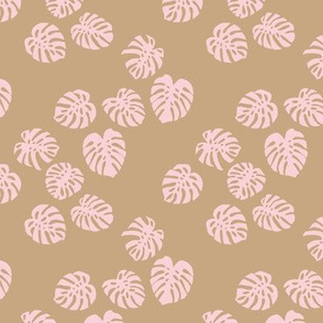 Little minimalist monstera leaves garden tropical leaves for summer for earth day and nature lovers forest cinnamon camel beige soft pastel pink