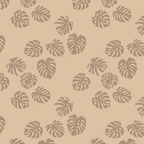 Little minimalist monstera leaves garden tropical leaves for summer for earth day and nature lovers forest cinnamon camel beige coffee latte