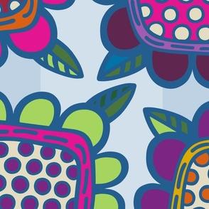 Squarish Flowers - Moody on Lt Blue - JUMBO