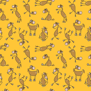 Funny Horses on Yellow