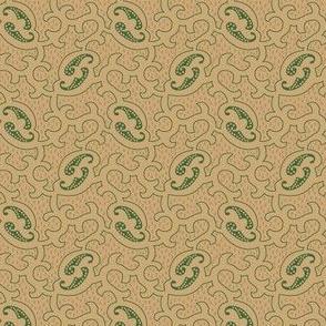 scroll beige and green 2065-62