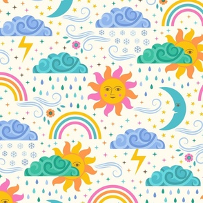 Sun, Clouds, Rain, Snow, Wind, Lightning