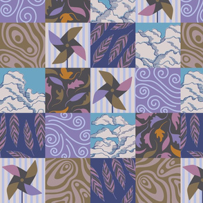 Elemental Air Outdoor Weather Patterns Patchwork in Purple Brown White Blue - SMALL Scale - UnBlink Studio by Jackie Tahara