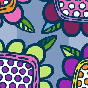 Squarish Flowers - Mellower on Slate - JUMBO