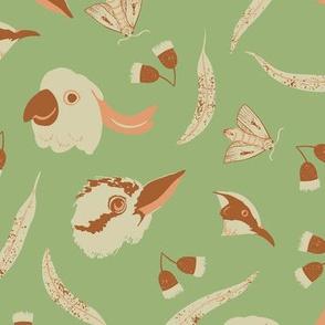 Australian birds on green (large scale)