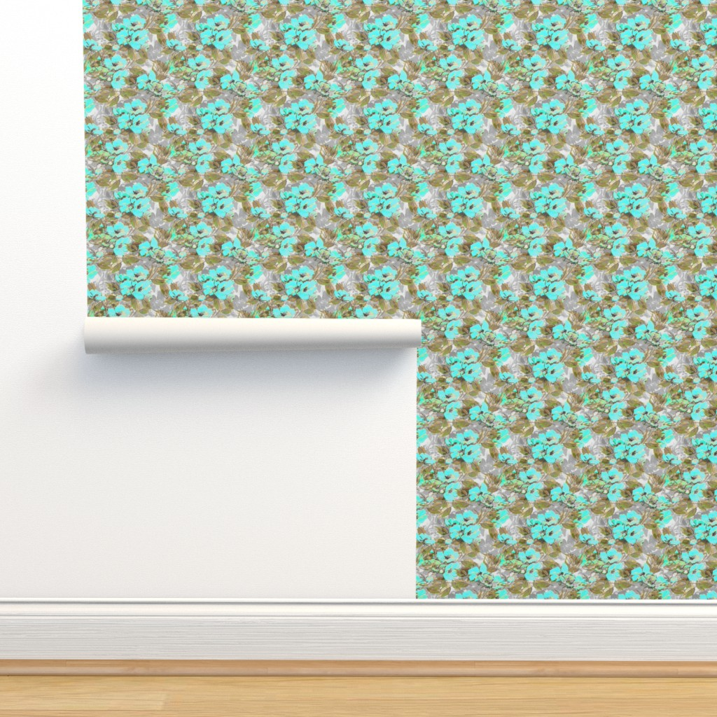 Isobar Durable Wallpaper featuring Rockabilly_Rose_blue_7 by joanmclemore