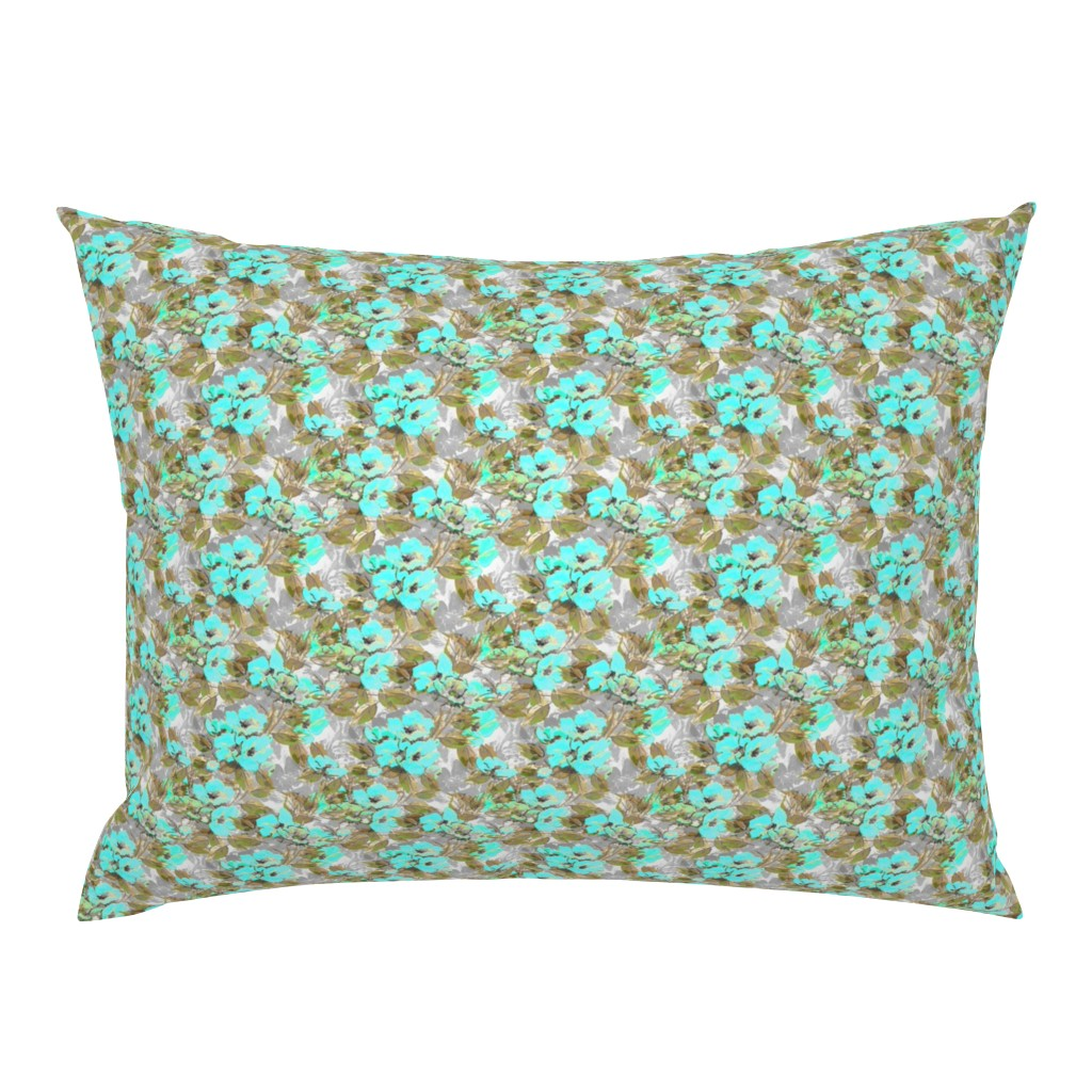 Campine Pillow Sham featuring Rockabilly_Rose_blue_7 by joanmclemore