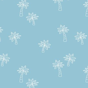 Soft minimalist hand drawn tropical palm trees and island vibes boho summer design soft blue