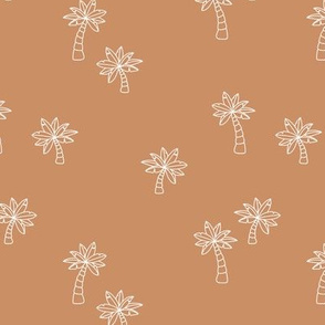 Soft minimalist hand drawn tropical palm trees and island vibes boho summer design cinnamon burnt orange white