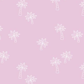 Soft minimalist hand drawn tropical palm trees and island vibes boho summer design orchid pink white