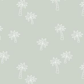 Soft minimalist hand drawn tropical palm trees and island vibes boho summer design mist green white