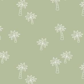 Soft minimalist hand drawn tropical palm trees and island vibes boho summer design eucalyptus green