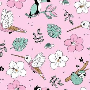 Pura vida summer jungle animals toucan birds hummingbird sloth and turtles rainforest pink mint girls