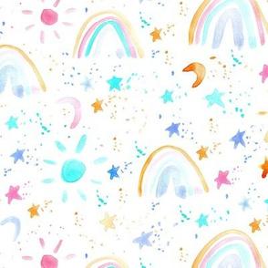 wonderful day - wonderful night - rainbows stars moon sun - watercolor sky for modern nursery a144-1
