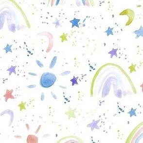 wonderful day - wonderful night - rainbows stars moon sun - watercolor sky for modern nursery a144-2
