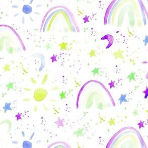 wonderful day - wonderful night - rainbows stars moon sun - watercolor sky for modern nursery a144-5