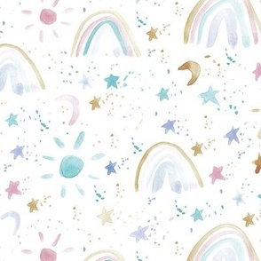pastel wonderful day - wonderful night - rainbows stars moon sun - watercolor sky for modern nursery a144-6