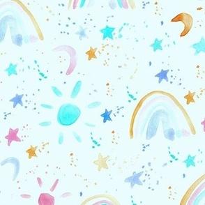 wonderful day - wonderful night - rainbows stars moon sun - watercolor sky for modern nursery a144-11