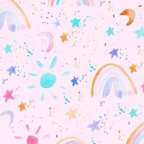 wonderful day - wonderful night - rainbows stars moon sun - watercolor sky for modern nursery a144-12