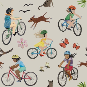 Kids biking sandy warm gray