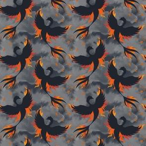 Phoenix Rising from the Flame in Black and Gray © Jennifer Garrett