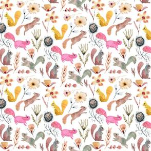 Squirrel in the woodlands floral_Multicolor
