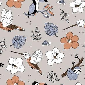 Pura vida summer jungle animals toucan birds hummingbird sloth and turtles rainforest beige coral orange blue neutral