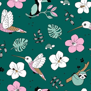 Pura vida summer jungle animals toucan birds hummingbird sloth and turtles rainforest forest green mint blue pink girls
