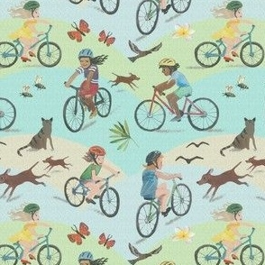 Kids biking sky blue