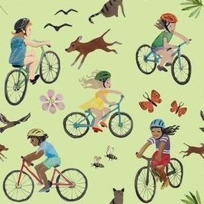 Kids biking soft green